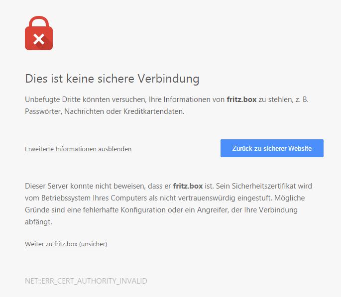 Fehlermeldung eines selbstsignierten Zertifikats einer FritzBox